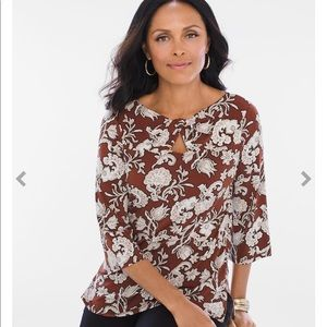 Chico's Brown Floral Top - size Small